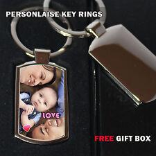 Personalised Key Ring /Key Tag Custom Photo/Text Printed with Gift box - chrome