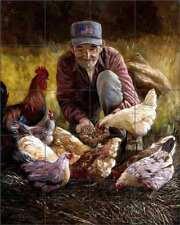 Rooster Tile Backsplash Mirkovich Country Life Art Ceramic Mural NMA035