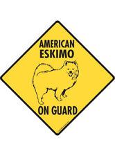 Warning! American Eskimo On Guard Aluminum Dog Sign and Sticker
