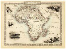 Old Vintage Africa decorative map Tallis ca. 1851