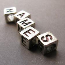 7PCs Silver Tone Alphabet Letter Cube Spacer Beads For European Charm Bracelets