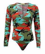 Ladies Womens Long Sleeve V Neck Multi  Army Camouflage Bodysuit Leotard Top