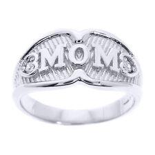 """10k White Gold """"MOM"""" Diamond Ring"""