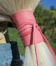 Pink Ponytail Holder Tie Black Genuine Leather Hair Wrap Cuff Jewelry Brown