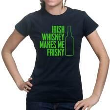 Irish Whisky Whiskey St Patrick's Paddy Leprechaun Shamrock Ladies T shirt Top