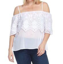 C.O.C. Tiered Crochet Lace Off the Shoulder Top Blouse White - Plus 1XL 2XL 3XL