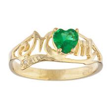 14Kt Gold Emerald & Diamond Heart Mom Ring