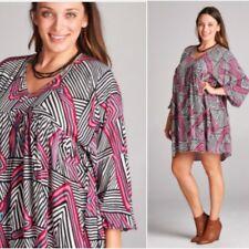 Cute Plus Size BoHo Gypsie Mini Dress Tunic 1X, 2X