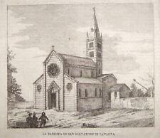 1860-GENOVA-LAVAGNA-BASILICA DI SAN SALVATORE-VEDUTA ORIGINALE-PAESAGGIO