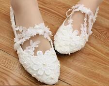 Escarpin éscarpins chaussures pour femmes ballerine blanc dentelle jeune mariée