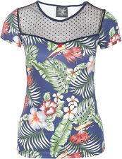 Küstenluder DELMA Vintage Tropical HIBISCUS Palmen Punkte TULLE Shirt Rockabilly