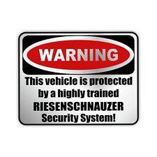 Auto Aufkleber Sticker Warning RIESENSCHNAUZER Hunde Einbruch SIVIWONDER