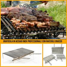 Griglia per barbecue in acciaio inox 60 x 40 graticola camino da campeggio carne