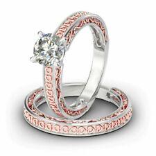 Heart Design 2.50 ct Round VVS1/D Diamond Ring Set Sterling Silver