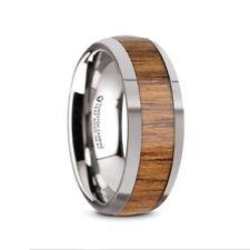 Inlaid Men's Wedding Ring – 8mm Thekka Domed Tungsten Polished Edges Teak Wood