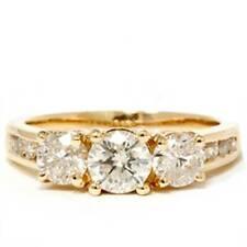 2ct Diamond Three Stone Engagement Ring 14K Yellow Gold Channel Set Round Cut