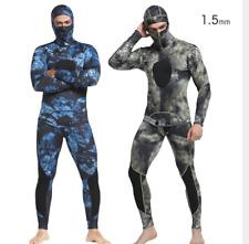 Men's 1.5mm Neoprene Hooded Diving Suit Swim Scuba Snorkeling Fishing Wetsuits