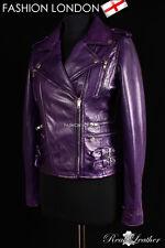 MAXIM Dark Purple Ladies Washed Rock Style Fashion Lambskin Leather Jacket