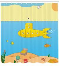 Yellow Submarine Shower Curtain Fabric Bathroom Decor Set with Hooks 4 Sizes