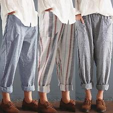 Women Loose Boho Pants Casual Summer Cotton Blend Slacks Vintage Retro Trousers