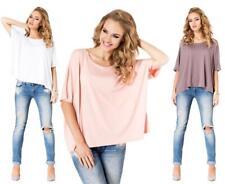 Longshirt Shirt mit Fledermausärmel Top 6 Farben S M L XL XXL 3XL, 006