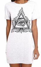 All Seeing Eye In A Triangle Illuminati Women's T-Shirt Dress - NWO Pagan