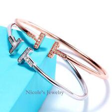 Fashion T Ended Bangle Bracelet Embedded CZ Stones 18K Rose Gold Plated BF21