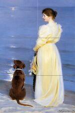 Tile Mural evening sea moon lady dog P. Kroyer Shower Backsplash Marble Ceramic