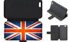 Union Jack Reino Unido Bandera Grunge billetera abatible funda de teléfono iPhone Galaxy 4 5 6 7 X 8 Plus