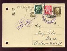 ITALY 1941 STATIONERY to SWITZERLAND UPRATED + CENSOR