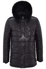 Mens Hooded Leather Jacket Black Hip Length Hoodie Quilted Winters Jacket 2029