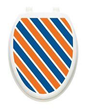 Toilet Tattoos Collegiate Blue & Orange Vinyl Toilet Lid Decoration