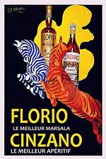 Red Blue Zebra Florio Cinzano Italy by Cappiello Vintage Poster Repro FREE S/H