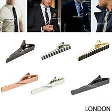 Mens Silver Gold Gun Grey Metal 2cm 4cm 5.5cm Wedding Tie Clip Skinny Tie Pin