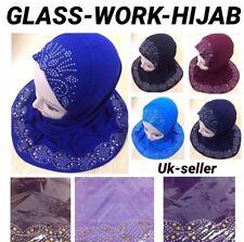 Niñas Niños Musulmán Hijab Bufanda Pañuelo Islámico Flor Hijab Vidrio trabajo Reino Unido P&p