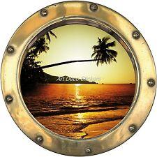 Sticker trompe l'oeil déco palmier couché de soleil réf:hublot H359