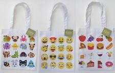 Canvas Tote Bag Emoji Emoticon Smiley Face Animals Or Food And Drink Print  New