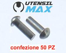 100 Ribattini Testa Tonda Ferro 4x12mm DIN660 round head rivets Halbrundnieten