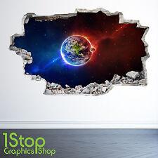 Planet earth space autocollant mural 3D look-moon galaxy étoiles garçons chambre à coucher Z31