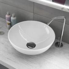 Lavabo Da Appoggio Ceramica Bianco Tondo Lavandino Lavello 41,5x41,5x13,5 Cm