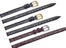 8 mm Genuine Leather Croco Grain Buckle Thin Watch Strap Band Bracelet