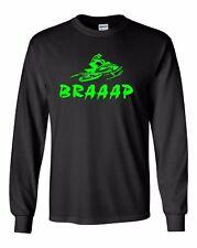 BRAAAP Long Sleeve T-Shirt Ski-Doo Arctic Cat Polaris Yamaha Neon Green to 5X!