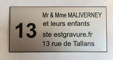 Plate Engraved Box Letters Door Personalised 3/4 Lines + N° . FT