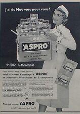 PUBLICITE ASPRO MEDICAMENT INFIRMIERE GRIPPE MAUX ASPIRINE DE 1958 FRENCH AD PUB