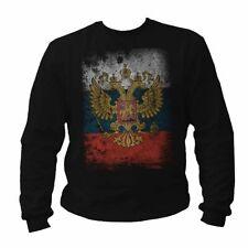 """EAKS® Herren Sweatshirt /""""RUSSLAND WAPPEN/"""" schwarz Pullover Russia Putin Pulli"""