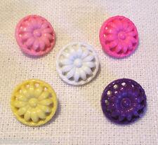 B10 - LOT de 5 BOUTONS FLEUR SOLEIL TOURNESOL ** 15 mm ** coloris au choix