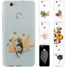 dessana Blumen Gepresst Silikon Schutz Hülle Case Handy Tasche Cover für Huawei