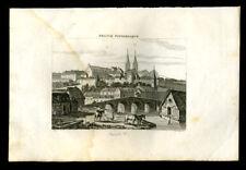 Vue de la ville de Saint Lo GRAVURE ORIGINALE DE 1836