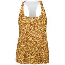 Gold Glitter All Over Womens Racerback Tank Top