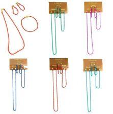 Rouge Orange Bleu Vert Perle Collier Bracelet Boucles d'oreilles Parti Filles Bijoux Set UK